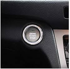 Amazon Com Diy Crystal Car Bling Ring Emblems Interior Car Accessory For Buttons Knobs Rhinestone Car Decal Sticker Gift For Women Bling Car Decor Silver Automotive