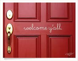 Welcome Door Decal Welcome Y All Front Door Greeting Etsy Front Door Decal Door Decals Front Door