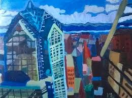 City and Sky Painting by Yvonne West