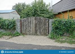 Gray Wooden Gate And A Fence Overgrown With Fences Near The Asphalt Road Stock Photo Image Of Fragment Near 126210642