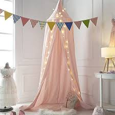 Mosquito Net Canopy Cotton Canvas Dome Princess Bed Canopy Kids Play Tent Mosquito Net Children S Room Decorate For Baby Kids Indoor Outdoor Playing Reading Pink Baby Cribbed