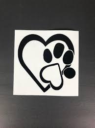 Heart Pet Car Decal Dog Car Decal Cat Car Decal Paw Car Etsy