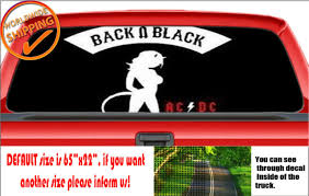 W929 Ac Dc Back In Black Rock Perforated Car Decal Rear Window Truck Sticker For Sale Online Ebay