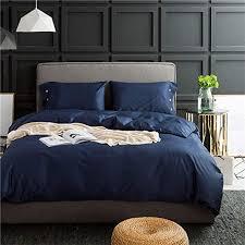 solid navy blue luxury bedding set