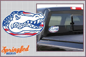 Florida Gators American Flag Gator Head Logo Vinyl Decal Springfeddecals Com