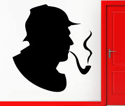 Amazon Com Wall Stickers Vinyl Decal Sherlock Holmes Detective Smoking Pipe Investigation Decor Z2301i Home Kitchen