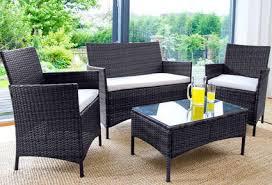 4pc rattan garden furniture set brown