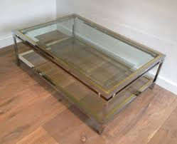 brass and chrome coffee table c 1970
