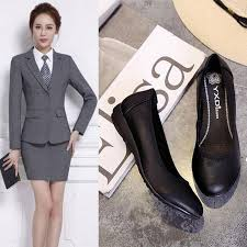 work shoes women black leather shoes