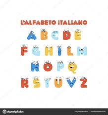 Italian Colorful Cute Alphabet Kids Education Hand Drawn Characters Educational Stock Vector C Bida Alina1991 Gmail Com 348542830