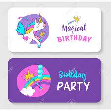 Tarjeta De Felicitacion Invitacion Cumpleanos Magico Unicornios