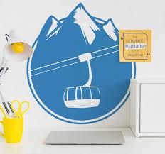 Ski Lift With Mountain Wall Sticker Tenstickers