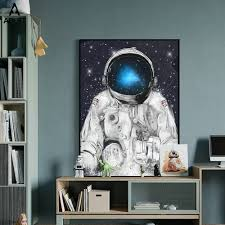 Astronaut Space Nursery Wall Art Canvas Painting The Solar System Planets Prints Pictures Girl Boy Kids Room Posters Home Decor Painting Calligraphy Aliexpress