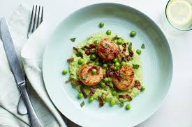 Seared Scallops with Mint, Peas, and ...