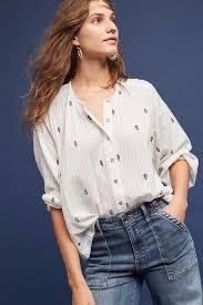 NWT ANTHROPOLOGIE Adela White Embroidered Buttondown by Akemi + Kin Sz S  #AnthropologieAkemiKin #E… | Clothes for women, Embroidered shirt, White  embroidered blouse