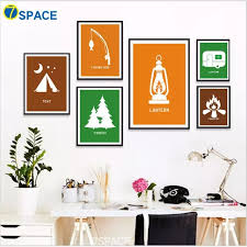 Cartoon Forest Tent Lantern Campfire Wall Art Canvas Painting Nordic Posters And Prints Canvas Art Wall Pictures Kids Room Decor Painting Calligraphy Aliexpress