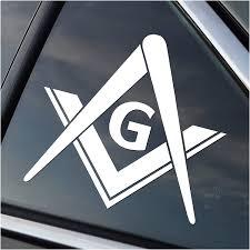 Amazon Com Masonic Freemasons Symbol Vinyl Car Window Decal Sticker White Automotive