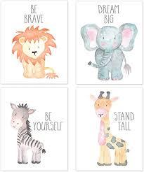 Amazon Com Nursery Wall Art Animal Paintings Set Of 4 Safari Nursery Baby Kids Room Wall Prints Baby Animal Portraits Lion Elephant Zebra Giraffe Nursery Art Nursery Decor Baby Kids Room Wall Art