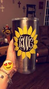 Sunflower Yeti Decal Yeti Tumbler Decal Custom Yeti Decal Yeti Monogram Decal Three Color Yeti Tumbler Decal Tumbler Decal Yeti Cup Designs