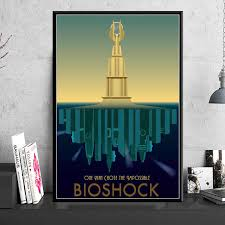Posters And Prints Bioshock Rapture Video Game Retro Kids Gift Poster Wall Art Picture Canvas Painting For Room Home Decor Painting Calligraphy Aliexpress