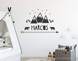 Wall Decal Kids Mountain With Name Wall Decals Nursery Personalized Wa Surface Inspired Home Decor Wall Decals Wall Art Wooden Letters