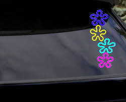 Flower Bulk Outline Vinyl Decal Colorful Set Of Four Flowers Window Sticker Big Tees Printing Online Store Powered By Storenvy
