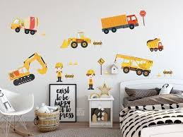 Construction Trucks Wall Stickers Removable Fabric Wall Etsy