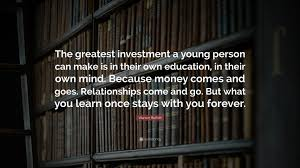 """warren buffett quote """"the greatest investment a young person can"""