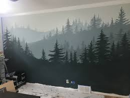 Silhouette Mountains Murals Pine Trees Hand Painted Shades Of Blue And Grey Mountain Mural Mountain Wall Painting Kids Room Murals
