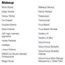 56 list brand names beauty s