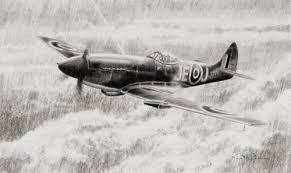 Spitfire Mk XIV of Johnnie Johnson- original drawing by Stephen ...