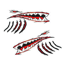 Floating Keyring 2 Large Shark Teeth Mouth Stickers Boat Ocean Kayak Decals Graphics Decals