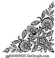 black and white flowers clip art