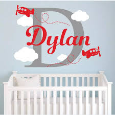 Personalized Airplane Name Wall Decal Airplanes Clouds Mural Boys Nursery Custom Name Art Design Wall Sticker Vinyl Wallpaperw 1 Vinyl Name Sticker Vinyldesigner Wall Stickers Aliexpress