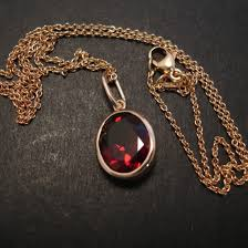 garnet pendant 9ct rose gold