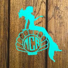Window Sticker 8 Turquoise Monogram Seashell Laptop Decal Car Decal Monogram Mermaid Decal Itrainkids Com