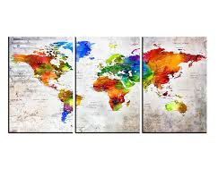 Amazon Com Extra Large Wall Art Canvas Print Push Pin World Map Wall Art Canvas Sets Watercolor Map Poster Printed On Canvas Framed Map Of World Prints Wall Decal Hr147 Handmade
