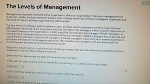 levels of management managers are
