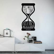 Hourglass Art Wall Decal Use Time John Kennedy Motivational Quotes Vinyl Window Stickers Study Room School Office Wallpaper Q369 Wall Stickers Aliexpress