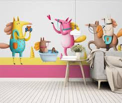 Carton Animal Mural Wallpaper For Kids Room Wall Paper Roll Girl Boy Bedroom Painting Wall Murals Contact Paper Custom Wallpapers Aliexpress