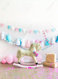 Pink Kids Girly Room With Horse Toy And Flowers Kids Interior Stock Photo Picture And Royalty Free Image Image 135467664
