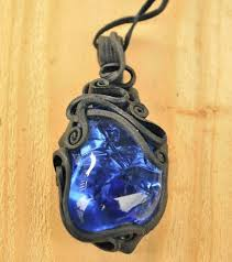 blue power fantasy glass pendant