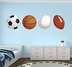 Amazon Com Sports Balls Football Basketball Soccer Baseball Wall Decal Vinyl Nursery Boy Kid Play Stickers 40 X 10 Baby