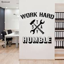 Inspirational Words Quotes Vinyl Wall Sticker Work Hard Stay Humble Creative Design Hammer Wrench Home Decor Office Decal H554 Vinyl Wall Stickers Designer Wall Stickerswall Sticker Aliexpress