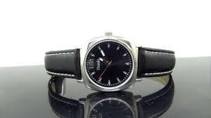 black leather strap silver tone