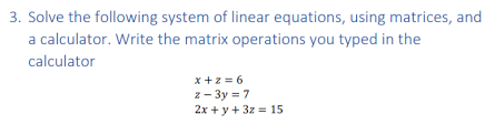 3 solve the following system of linear