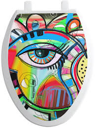 Abstract Eye Painting Toilet Seat Decal Youcustomizeit