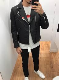 faux leather double rider biker jacket
