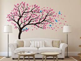 Designyours Beautiful Pink Cherry Blossom Tree Wall Decal Flying Birds Large Tree Wall Decals For Ki Baby Shower Wall Decor Kids Wall Decals Children Room Girl