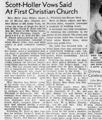 Wedding announcement for Betty Holler and Hugh Ivy Scott - Newspapers.com
